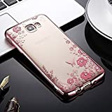 LOXXO Shockproof Silicone Soft TPU Transparent Auora Flower Case with Sparkle for Samsung A5 2016