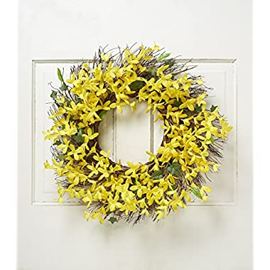 Spring Floral Front Door Forsythia Flower Wreath 22