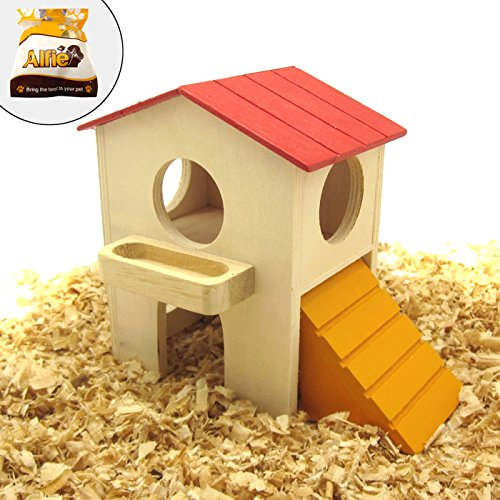 Alfie Pet by Petoga Couture - GARI Wood Hut for Small Animals like Dwarf Hamster and Mouse - Size: Medium (Hut Hamster Wood)