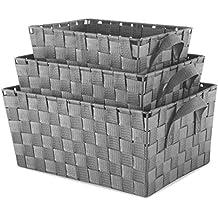 Whitmor Woven Strap Storage Baskets S/3-Gray