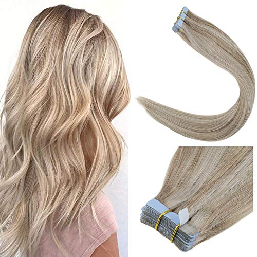 LaaVoo 20 Long Invisiable Real Human Hair Tape in Hair Extensions Ash Blonde Fading to Bleach Blonde Silky Straight Gule in Tape on Hair Extension 20Pcs 50G/Package (#18/613)