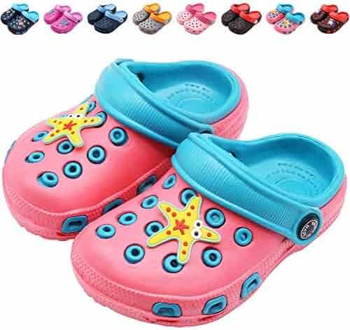cc0325c323f1 eccbox Toddler Little Kids Clogs Cute Lightweight Garden Shoes Non-Slip Boys  Girls Slide Sandals
