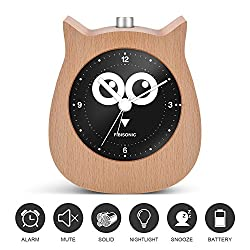 Inhome Alarm Clock-Fibisonic Silent Wooden Animal Analog Snooze Small Cute Owl Desk Quartz Clock with Nightlight--Best Gifts for Kids and Heavy Sleepers