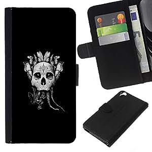 LECELL--Cuero de la tarjeta la carpeta del tirón Smartphone Slots Protección Holder For HTC Desire 820 -- Resumen Goth Skull Dreamcatcher --