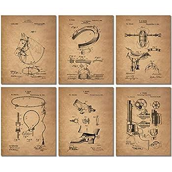 Cowboy Patent Art Prints - Set of 6 Western Wall Decor Photos Spurs Colt Peacemaker Lasso Bridle Saddle Horseshoe