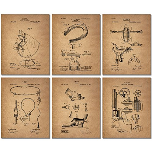 (Cowboy Patent Art Prints - Set of 6 Western Wall Decor 8x10 Photos Spurs Colt Peacemaker Lasso Bridle Saddle Horseshoe)