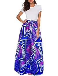 15cfa911df5d4 Women African Printed Casual Maxi Skirt Flared Skirt Multisize A Line Skirt  (S-3XL