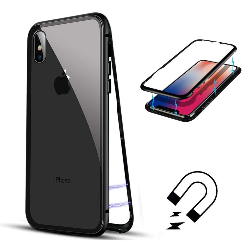iPhone XS Max Case,Shinetop Magnetic Adsorption Case Metal Frame Tempered Glass Back with Built-in Magnet Flip Cover [Support Wireless Charging] Shockproof Case for iPhone XS Max 6.5 inch (2018)
