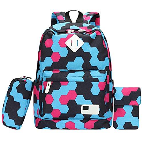 WanYang 3 Piezas Set Backpack Mochilas Escolares Mochila Escolar Casual Bolsa Viaje 3Pcs Rosa