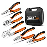 Tacklife 5 Piece Pliers Set, High-Density Chrome Plated Finish and High Shear Force, Suitable for Multiple Thread Screwing, Portable Carrying Case Included, HPS1A