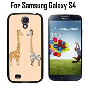 Funny Cute Giraffe And Zebra Custom Case/ Cover/Skin *NEW* Case for Samsung Galaxy S4 - Black - Rubber Case (Ships from CA) Custom Protective Case , Design Case-ATT Verizon T-mobile Sprint ,Friendly Packaging - Slim Case