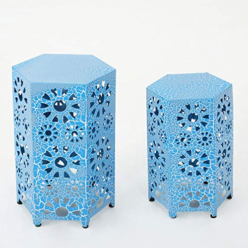 GDF Studio Elliot Nestable Outdoor 12 Inch and 14 Inch Sunburst Iron Side Table Set (Crackle Blue) ()