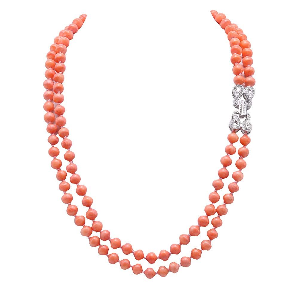 JYX Double Strands Coral Necklace 6-6.5mm Orange Coral Long Sweater Necklace for Women 19'' by JYX Pearl