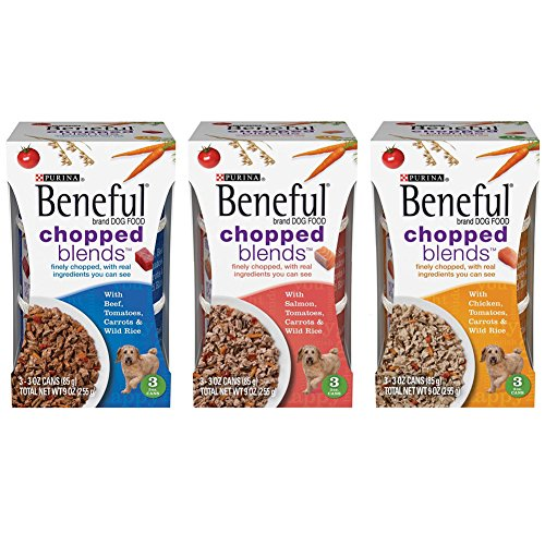 Purina Beneful Chopped Blends Wet Dog Food Variety Pack - 3 Ounces Each - 3 Flavors - Beef, Salmon, and Chicken (9 Cans Total)