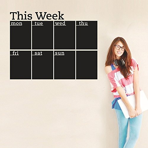 Feccile 18x23 Removable Vinyl Chalkboard Week Plan Calendar MEMO Blackboard Wall Sticker Decal,Durable,Easy to Clean and Wipe