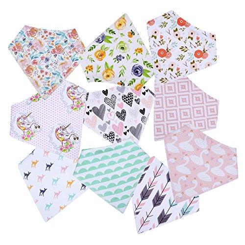 10-Pack Baby Girl Bandana Drool Bibs Gift Set for Drooling Teething by MiiYoung by MiiYoung (Image #7)