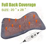 XXL Back Heating Pad for Full Back Pain Relief with X-Large Size 20' x 28' - Soft Electric Moist Heat Pad for Cramps with Fast-heating Technology Auto Shut-off, 6 Heat Settings