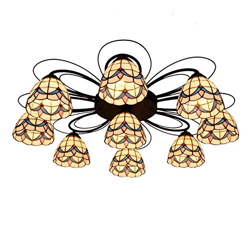 - QCKDQ Tiffany Style Chandelier, Stained Glass Ceiling Light,3 Lights, Magnolia Flower Ceiling Chandelier for Bedroom,C