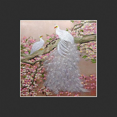 Two White Peacocks Oriental Wall Hanging Art Asian Decoration