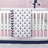 Anchor Nautical 3 Piece Baby Crib Bedding Set in Pink / Navy by The Peanut Shell
