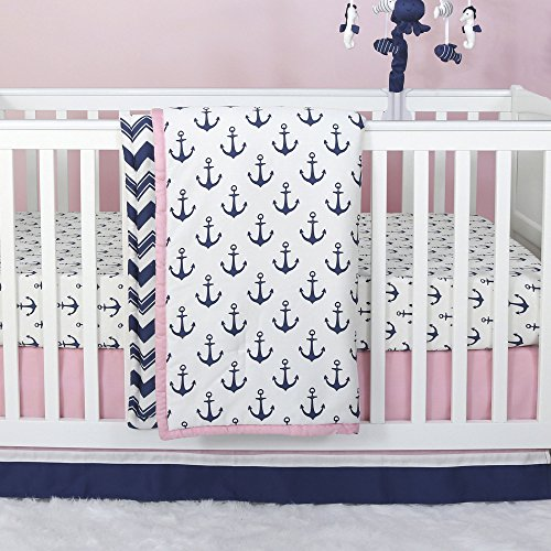 Pink Sailboat - Anchor Nautical 3 Piece Baby Crib Bedding Set in Pink / Navy by The Peanut Shell
