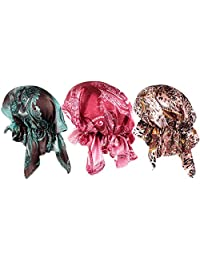 Women 3 Pack Women Ethnic Print Head Scarf Beanie Hat Chemo Cancer Cap