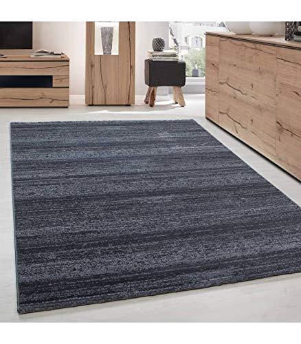 Wohnzimmer Jugendzimmer Teppich Kurzflor Grau Anthrazit - 200x290 cm