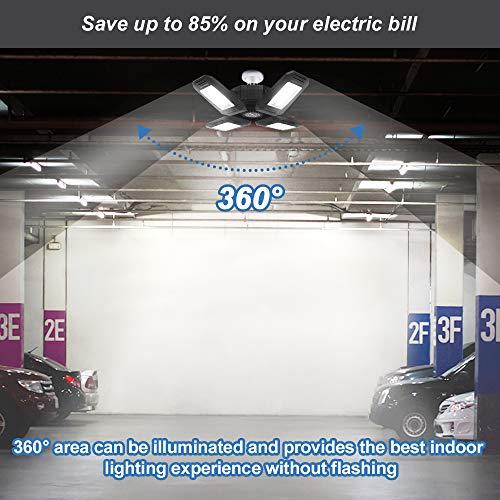 120W LED Garage Lights, 12000LM Garage Lights Ceiling LED, Best for Garage, Workshop, E26/E27 Base, CRI 85, 6500K Four-Leaf Deformable LED Garage Lighting Fixture with Adjustable Multi-Position Panels