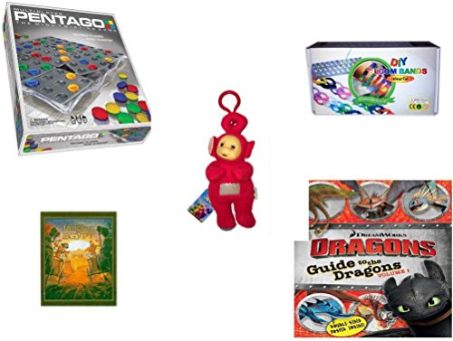 Children's Gift Bundle - Ages 6-12 [5 Piece] - Pentago Multi Player Game - DIY Loom Band Bracelet Making Kit Toy - Teletubbies Plush Red Po with Hang Clip 8