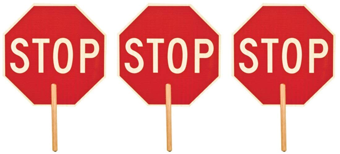 ML Kishigo 5951 Non Reflective Double Sided Stop Sign with 9'' Handle,''Stop/Stop'' (3-(Pack))