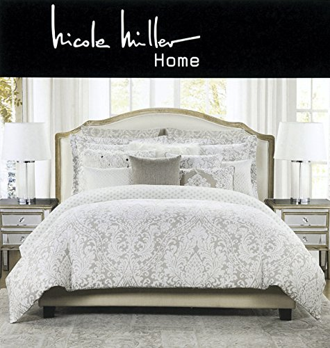 Nicole Miller 3 pc King Duvet Cover Set Beige Tan Watercolors for sale  Delivered anywhere in USA