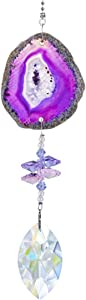 H&D Suncatcher Crystal Hanging Pendant -Unique and Beautiful Natural Agate Slices for Home or Garden Decor,Purple