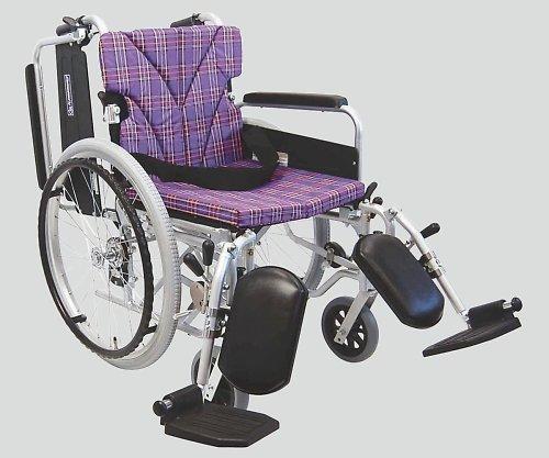 カワムラサイクル8-6722-04車椅子(アルミ製)エレベーティング紫チェック B07BD3J9K5