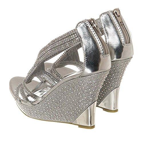 Cross Taglia Per donna M Silver Strass Strap Rondelles Sandal aaPfXwZq