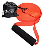 Leashboss Free Range - 30 Foot - 1 Inch Nylon Dog Leash for Large Dogs w/Drawstring Backpack - Heavy Duty Long Training Lead with Padded Handle (30 Ft, 1 Inch Bright Orange)