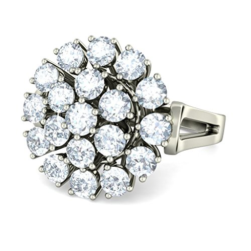18K Or Blanc, 1,47CT TW avec zircons ronds Diamant (IJ   SI) Cocktail en diamant
