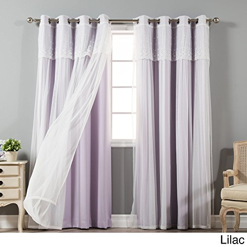Aurora Home Tulle Sheer with Attached Valance and Blackout 4-piece Curtain Panel Pair Lilac 52 x 96 96 (Four Piece Panel)