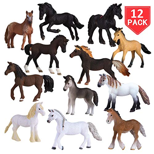 Liberty Imports Set of 12 Deluxe Horse Figurines for Kids - Realistic Toy Pony Figures Bulk Animal Variety Cake Toppers Gift Pack]()