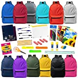 19'' Wholesale Backpacks in 12 Assorted Colors with 30 Piece School Supply Kit - Bulk Case of 12