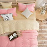 Yaheeda 4 Pcs Duvet Cover Quilt Cover Bedding Set bed Sheet Set,Pink,1.5m/5ft