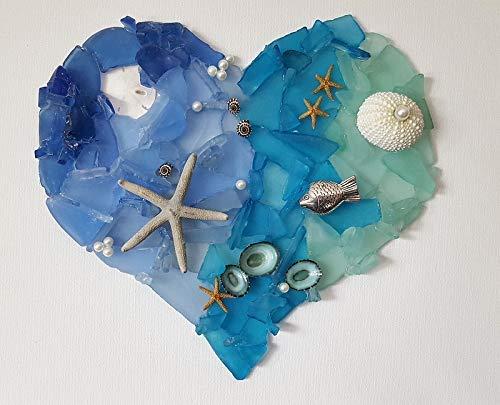 Beach Decor Sea Glass Art - Beach Glass Mixed Media Heart Sea Glass Mixed Media Heart Wall Hanging, Artisan Signed
