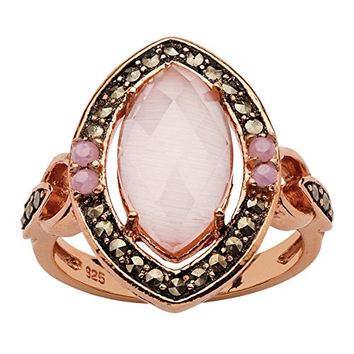 Seta Jewelry Rose Gold Plated Sterling Silver Marquise Cut Simulated Cat s Eye, Round Cubic Zirconia and Marcasite Ring