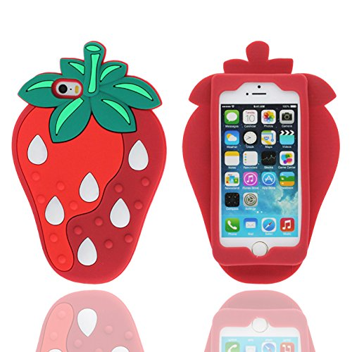 iPhone 5 SE Coque Case, design Novel 3D Joli Fraise Forme Silicone Gel Élastique Doux Housse de Protection pour Apple iPhone 5 5S 5C SE ( Rouge )