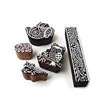 Ethnic Owl and Fish Pattern Wood Stamps for Printing (Set of 5)