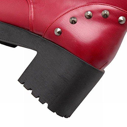 Mee Shoes Damen runde chunky heels Schnürsenkel kurzschaft Stiefel Rot