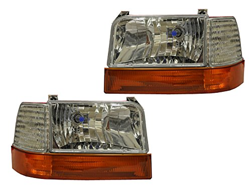 F150/F250/Bronco Euro Chrome Headlights Headlamps 6 Piece Set (1 Piece Euro Headlights)