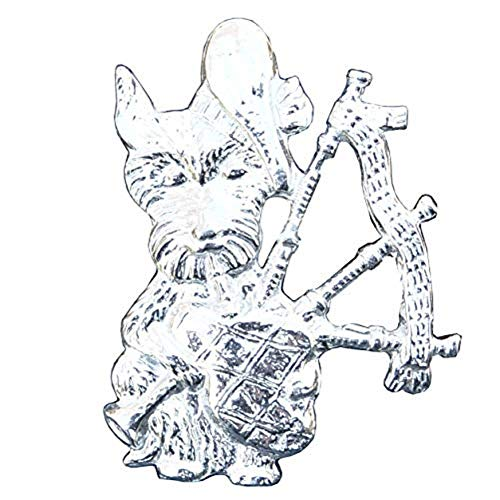 Scottish Brooch, Scotty Dog with Bagpipes Brooch, Handcast, in Fine Pewter, by William Sturt