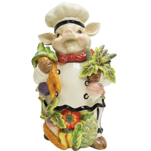 Chef Pig Cookie Jar<br>Highly Detailed<br>9.5 L x 7.5 W x 15.5 H