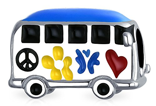 Peace Love Hippie Bus 1960'S Multi Color Charm Bead For Teen For Women Oxidized Sterling Silver Fits European Bracelet