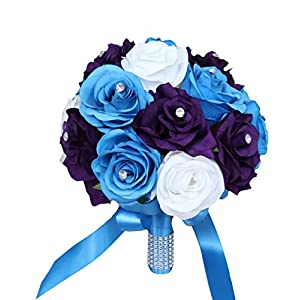 Angel Isabella Wedding Bouquet -9inch Turquoise Malibu, Purple, and White Artificial Roses 55